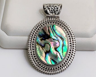 """Abalone Shell Sterling Silver Pendant - Slide, Large Fiery Stone 30X25 mm, 2 1/2"""" Long - 1 3/8"""" Wide, 19.00 Grams."""