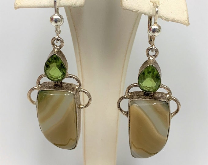 """Vintage Large Sterling Silver Green Peridot and Natural Lace Agate Gemstones Dangle Earrings, Lever Backs, 2 1/4"""" long - 7/8"""" wide. Unique"""