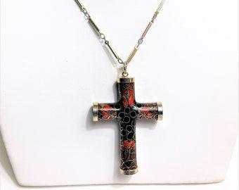 Antique Venetian Cloisonné Cross Necklace, Original Chain. Originally 18k Gold Plated, Barrel Shaped with no Seams, Unique Piece