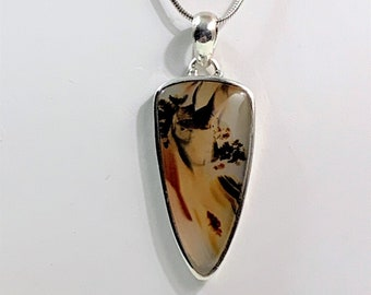 """Vintage Paolo Romeo Sicilian Agate Necklce, Beautiful Colorful Inclusions, 24"""" Snake Chain - 2"""" Pendant, Italy"""