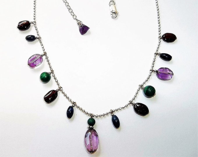 """Amethyst Garnet Malachite and Blue Apetite Dangles, Sterling Silver Ball Bead Necklace, Simply Beautiful, 16"""" + 2"""" Extension."""