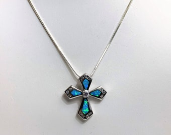 """Sterling Silver Blue Opal Inlay Cross Necklace, CZ Accents, 16"""" Square Snake Chain, Made in Italy. Beautiful Necklace. Free US Shipping."""