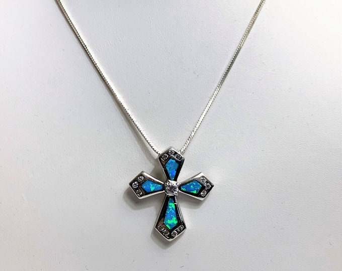 """Sterling Silver Inlay Opal Croos Necklace, Cubic Zirconia Accents, 16"""" Square Snake Chain, Italy. Beautiful Necklace."""