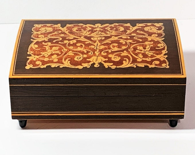 "Collectible Reuge Swiss Music Box ""Torna a Surriento"", Fine Woods Inlaid Classic Mediterranean Art, Crafted in Italy, 5.5"" W. 4"" L. 2.5"" H"