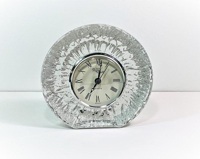 "Vintage Studio Nova Germany Fine Lead Crystal Clock, Precision Quartz, Mint Condition, 5.25"" W. 5"" T. Works Perfect. Free US Shipping."