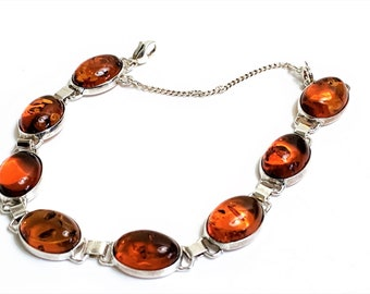 """Vintage Sterling Silver Natural Baltic Cognac Amber Bracelet, 8 Oval Cabochon 14X10 mm, 7"""" Long, Safety Chain, England"""