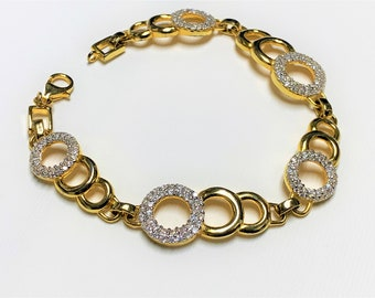 """Sterling Silver .925 Link Bracelet, Vermil-18K Yellow Gold E.P, Round Brilliant Cut Hand Set Clear CZ, 7 1/2"""", Nice"""
