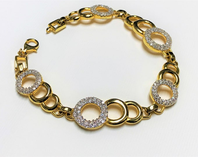 "Sterling Silver .925 Link Bracelet, Vermil-18K Yellow Gold E.P, Round Brilliant Cut Hand Set Clear CZ, 7 1/2"", Nice"