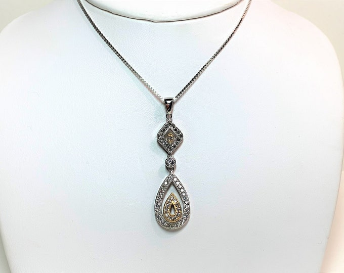 """Sterling Silver long Drop Necklace, 2 Tone Hinged Slide 2"""" Long, Hand Set Round Brilliant Cubic Zirconia, 20"""" Box Chain, Rhodium."""