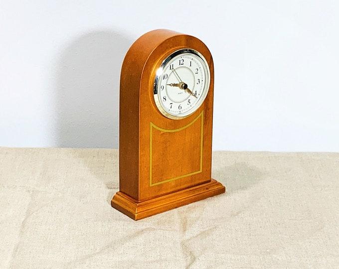"Vintage Carved Decorated Varnished Wood Block Mantel Clock, Golden Oak, Quartz Movement, 3.5"" Dial, 8"" T. 5.5"" W. Ticking, Free US Shipping."