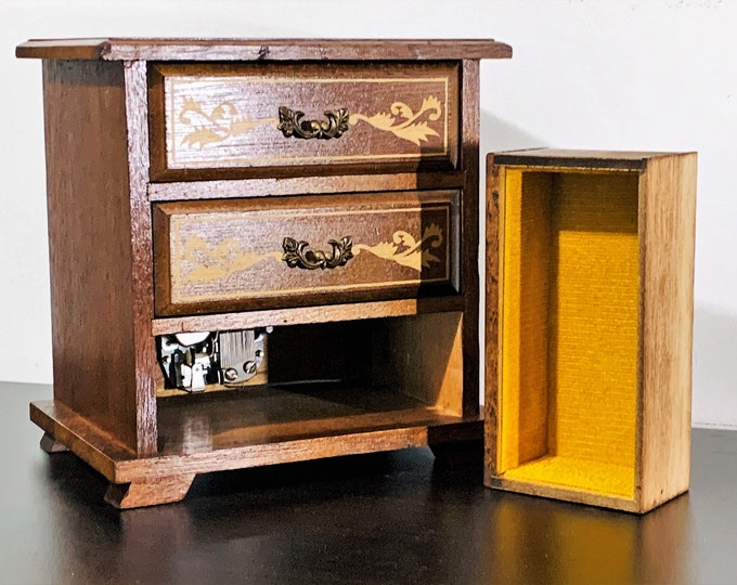 "Vintage Carved Rosewood Laurel Japan Music Box 'Moonlight Waltz', Gold Patterns Art, 3 Drawers. 8"" H. 7.5"" W. 5.5"" L. Circa 1960's. Restored"
