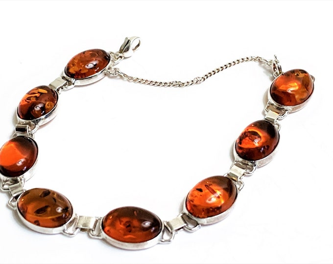"Vintage Sterling Silver Natural Baltic Cognac Amber Bracelet, 8 Oval Cabochon 14X10 mm, 7"" Long, Safety Chain, England"