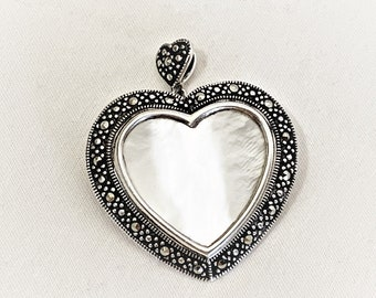 """Sterling Silver - Marcasite & Mother of Pearl Heart Pendant Brooch Pin, Beautiful Large Piece, 1 3/8"""" - 35 mm Heart, Hinged Bail, 9 Grams."""