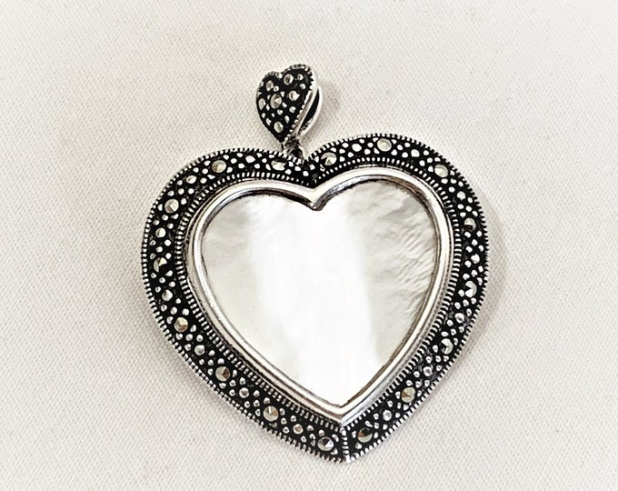 "Sterling Silver - Marcasite & Mother of Pearl Heart Pendant Brooch Pin, Beautiful Large Piece, 1 3/8"" - 35 mm Heart, Hinged Bail, 9 Grams."