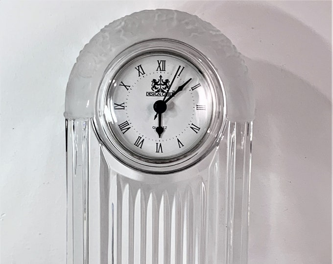 """Design Guild Slovakia 24% Lead Crystal 11"""" Tall Mantle Clock, Frosted Accents, Hausin Quartz Clock, 11"""" x 6.5"""" x 3"""", Mint. Free US Shipping."""