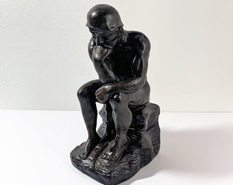 """The Thinker, Replica of the Bronze Sculpture by Auguste Rodin. Hand Crafted and Signed, 9.5"""" Tall. 5"""" Long. Intact  with Great Details."""