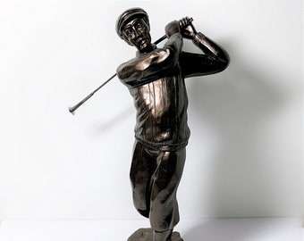 """Golfer in Action Statue, Bronze and Bronze-Finish, Realistic Details, Stands 13"""" High. Perfect Condition. Free US Shipping."""
