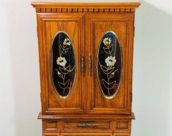 """Vintage Carved Wood Super Large Jewelry Armoire, 21.5"""" T. 12"""" W, 2 Floral Glass Doors, 3 Large Drawers, Mirror, 2 Hangers, Free US Shipping."""