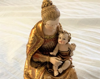 """Vintage Italian Porcelain Figurine, Mother and Child, Beautiful Fine Details, Excellent Condition, 7"""" High, Free US Shipping."""
