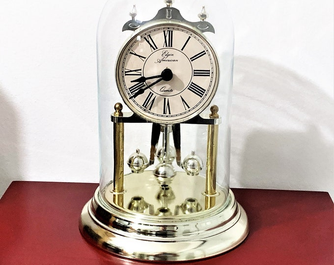 "Elgin American Anniversary Clock, Glass Dome, Rotating Pendulum, Triple Crown, Made in USA, 9"" T. 6"" W, Cleaned & Tested, Free US Shipping"