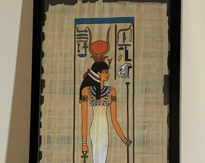 """Vintage Egyptian Hand Painted Papyrus of Goddess ISIS, Fertility, Magic and Love, Papyrus 16 x 8.5"""", 41 x 22 cm, Black Wood Frame 21 X 10"""","""