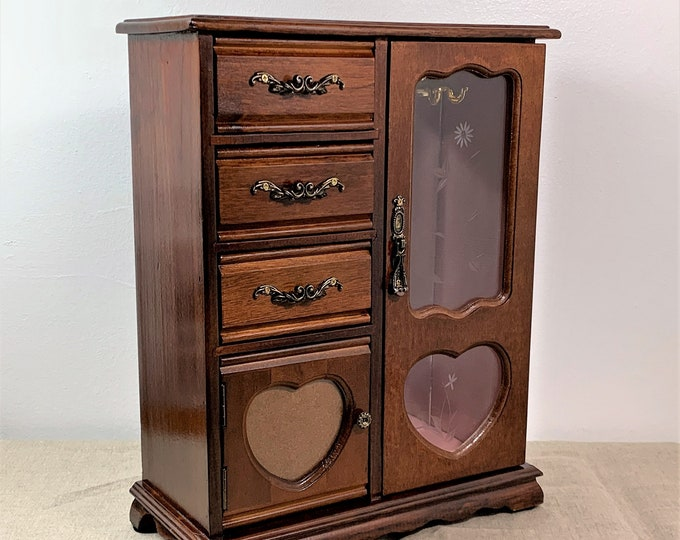 """Vintage Large Carved Wood Jewelry Armoire, 14.5"""" H. 11.25"""" W. Separate Ring Section W/ Door, Hangers, 3 Deep Drawers. Free US Shipping."""
