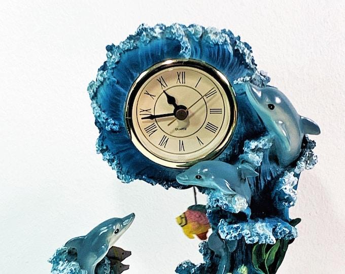 "Beautiful Incolay Sculpture Dolphins, Coral, Shells, Fish Pendulum Quartz Working Mantel Clock, 9"" T. 6"" W. Free US Shipping, Rare Clock."