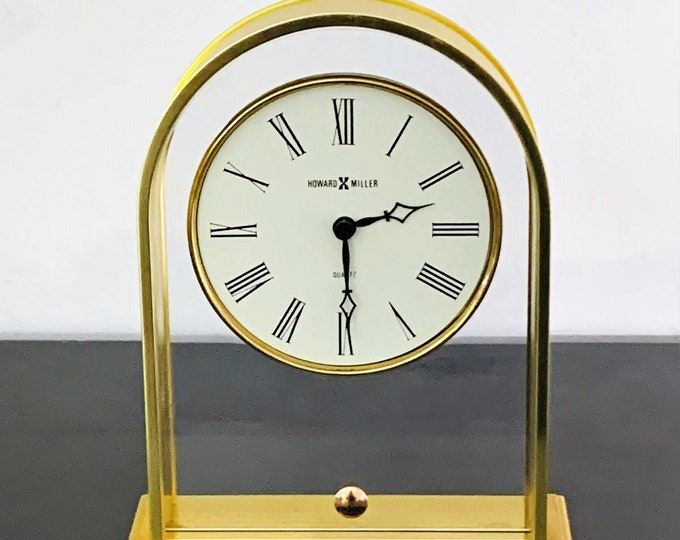 """Howard Miller Hong Kong Solid Brass Mantle Clock, Floating Dial,  Super Accuracy Quartz, Great Condition, 7.5"""" T. 5.75"""" W. Free US Shipping."""