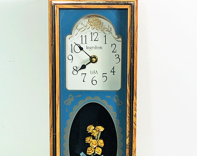 """Vintage Ingraham USA Wooden Wall Art Clock, 3D Golden Roses, Patterned Colorful Glass, Quartz, 12.75"""" T. 5.5"""" W. 2"""" Deep. Free US Shipping"""