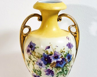 """Vintage Victoria Carlsbad Austria Hand Painted Vase, Circa 1977 Doubled Handle Floral, Signed & Numbered, 8.25"""" Tall, Well Preserved."""