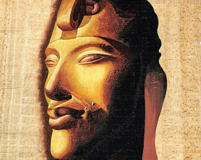 "Vintage Hand Painted Egyptian Papyrus, King Akhenaten (Akhnaton), Realistic Art, Pencil and Brush 16 X 12"". 40 X 30 cm. , By 'Monsef Labib'"