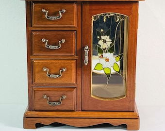 """Vintage Wood Jewelry Armoire, Floral Glass Door, Hangers, Mirror, 4 Padded Drawers & Walls, 10.5"""" Tall, 9.25"""" W. Restored. Free US Shipping."""