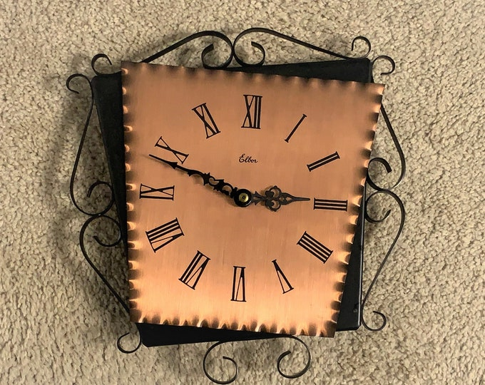 """Vintage Diehl Germany Iron Frame and Copper Dial Designer Wall Hanging Clock, Mid Century Style, 11"""" X 10"""", Superb Condition. Free Shipping"""