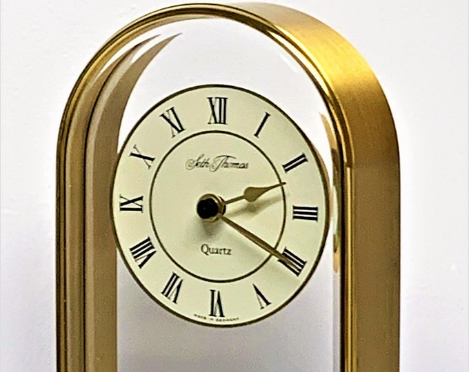 """Seth Thomas Camina Solid Brass Hanging Dial West Germany Mantle Clock, Mint with Warranty, Model 0230-001, 5.5"""" T. 4"""" W. Free Shipping"""