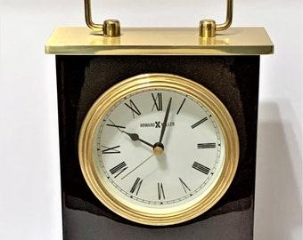 "Howard Miller Rosewood Bracket Tabletop - Desktop Clock 613-528, Solid Brass, Glossy Finish, Precision Quartz, 8.25"" H - 5"" W, Serviced"