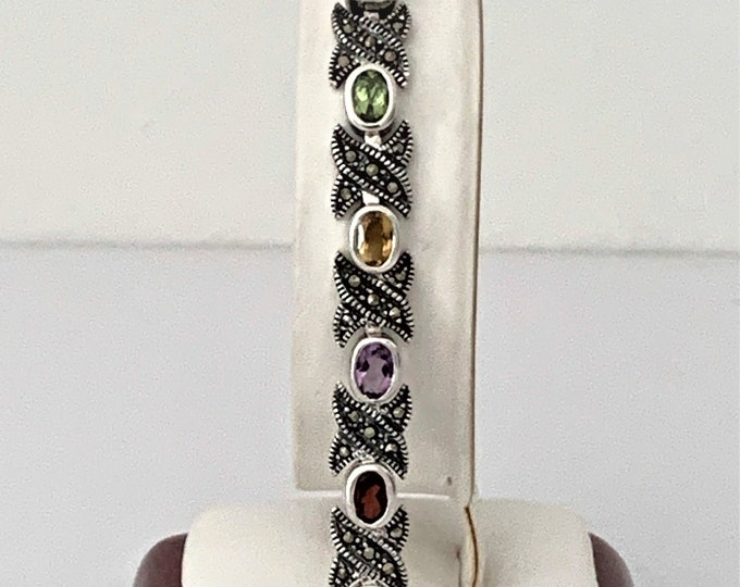 "Vintage Sterling Silver Marcasite and Multi Gemstone Bracelet, 15 Oval Faceted Genuine Gems 6X4 mm, 7.5"" L. 1/3"" W, 18 Grams. Refinished."