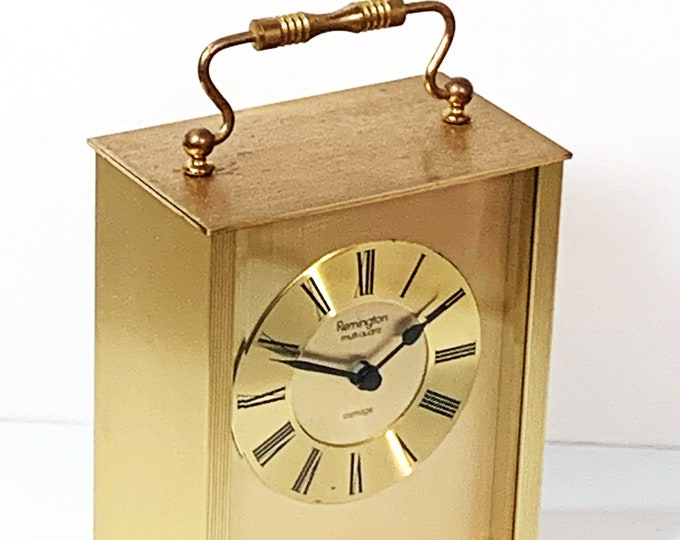 """Remington Multi-Quartz Carriage All Brass West Germany Mantel Clock. Serviced, Some Patina, 7"""" T. 4.25"""" W. - Back Door. Free US Shipping"""