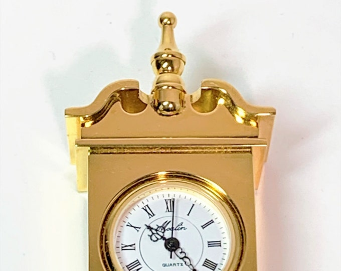 """Collectible Moulin Miniature Colonial Clock, Gold Finish Brass, Japan Quartz, 2 3/8"""" T. 2"""" W. 1"""" L. Great Condition. Free US Shipping."""