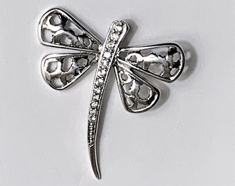 "Sterling Silver Dragonfly Pendant-Slide, Hand Set Clear Faceted CZ, 1 1/4"" - 30mm L, 1 1/8"" - 28mm W. Nice"