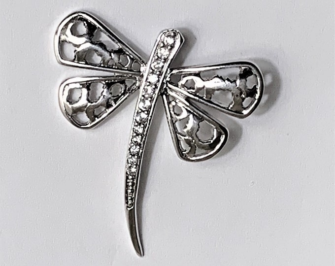 """Sterling Silver Dragonfly Pendant-Slide, Hand Set Clear Faceted CZ, 1 1/4"""" - 30mm L, 1 1/8"""" - 28mm W. Nice"""