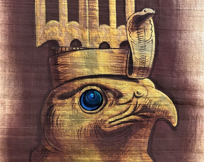 "Vintage Hand Painted Egyptian Papyrus, Realistic Art, Depicts God Horus The Falcon, 3D Impression 20 X 11"". 50 X 28 cm, By Monsef Labib."