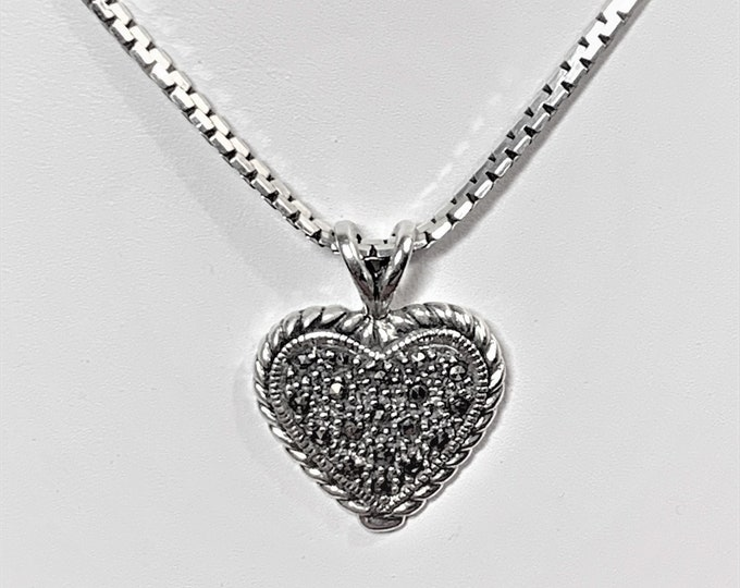 """Vintage Sterling Silver Marcasite Heart Necklace Choker, 16"""" Cobra Link Chain, 30 X 20 mm Heart, 10.90 Grams. Nice"""