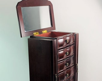 """Vintage Hardwood Large Jewelry Armoire, Hinged Lid W/Mirror, Side Padded Hangers Doors, 6 Large Drawers. 15.5"""" T. 10.5"""" W. Free US Shipping."""