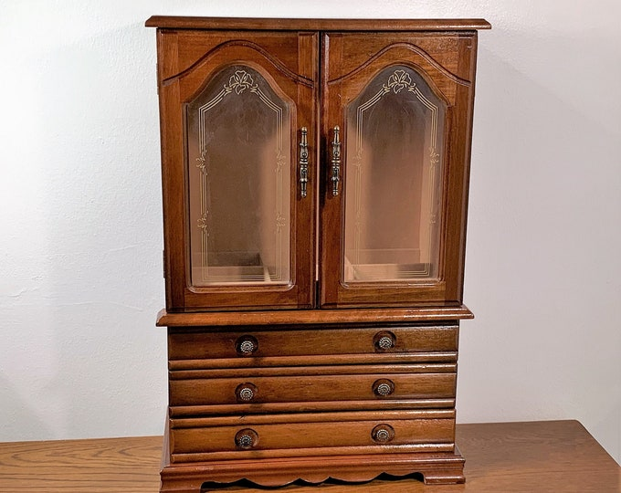 """Vintage Large Carved Wood Jewelry Armoire , 2 Ornate Doors, Padded Walls & Sections, 3 Drawers, 2 Hangers, 18"""" T. 12"""" W. Free US Shipping."""