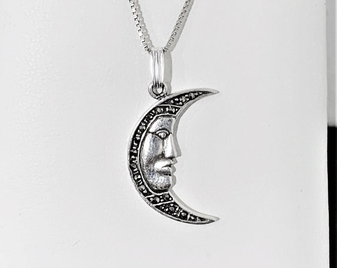 "Sterling Silver Marcasite Crescent Moon Face Necklace, Amazing Details, 1.25"" Pendant, 18"" Box Chain. High Polish Finish. Refinished"