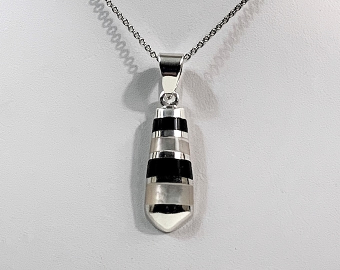 """Sterling Silver Black Onyx and Mother of Pearl Inlay Necklace, 1 1/4"""" Pendant, 18"""" Long Rolo Chain. Beautiful. Free Demostic Shipping."""