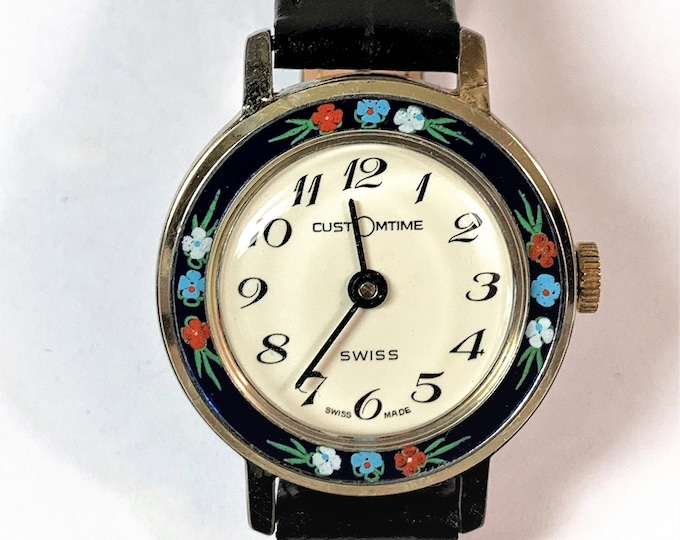 Customtime Swiss Enameled Bezel Mechanical Ladies Watch, Circa 1960's, Rare Edition Roses Bezel, 30mm, Serviced and Works Perfectly.