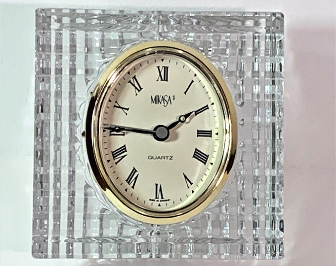 "Vintage Mikasa Sutton Place Austrian Crystal Made in Germany Clock. Circa 1995, 4.25"" T. 4.25"" W. Mint Condition, Serviced. Free US Shipping"