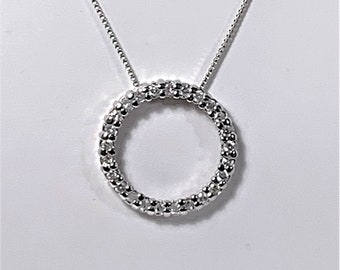 """Sterling Silver Infinity Circle Necklace, Row of Diamond Cut Cubic Zirconia, 1"""" Slide, 18"""" Box Chain, Brilliant Sparkles Around the Circle."""