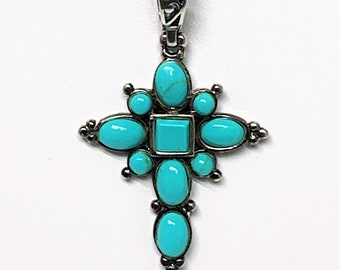 """Sterling Silver Fine Blue Turquoise Victorian Cross, Hand Crafted, Oval - Round & Square Cabochons, 2"""" L. 1"""" W. 16-18"""" Box Chain. Stunning."""